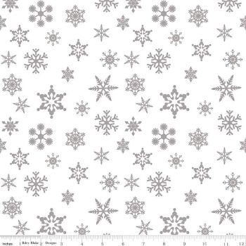 FABRIC FELT Christmas - Snowflakes - Sparkle Cotton - Silver