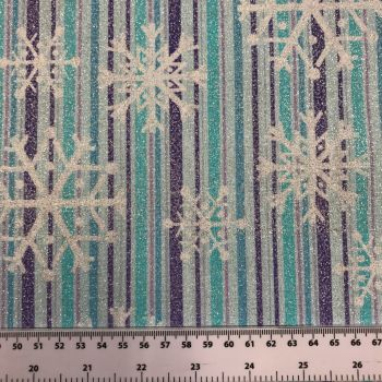 FABRIC FELT Christmas - Winter Frost - Metallic Snowflake Stripe