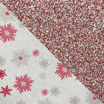 Double Sided Bow Fabric - Cinnamon Snowflakes