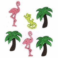 Dress It Up Button Pack - Glitter Flamingos and Palm Trees