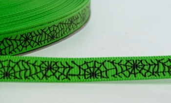 9mm Cobweb Ribbon - Green