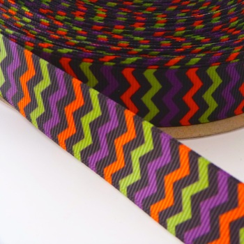 22mm Halloween Chevron Ribbon