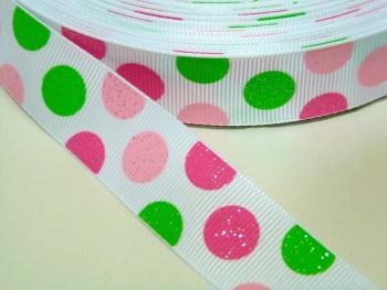 22mm Large Polka Dot Grosgrain Ribbon - GLITTER PINK/GREEN