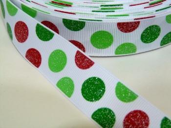 22mm Large Polka Dot Grosgrain Ribbon - GLITTER RED/GREEN
