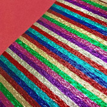 FABRIC FELT - Metallic Rainbow Stripes