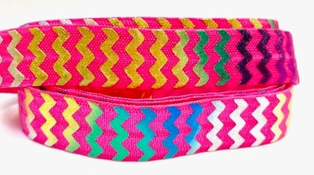 Fold Over Elastic - Metallic Chevron - Rainbow