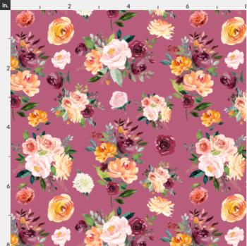 Artisan Fabric Felt - Autumn - Floral - Claret