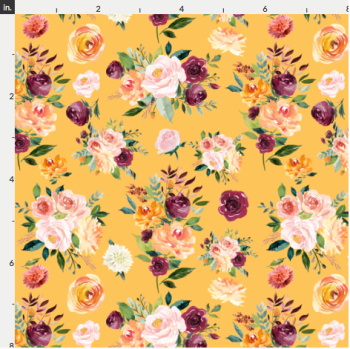Artisan Fabric Felt - Autumn - Floral - Mustard