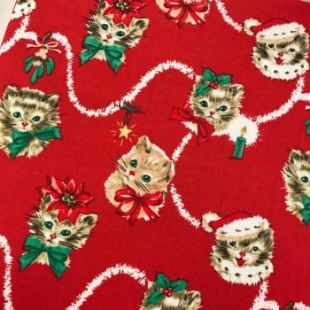 Christmas Fabric Felt - Christmas Kittens on Red