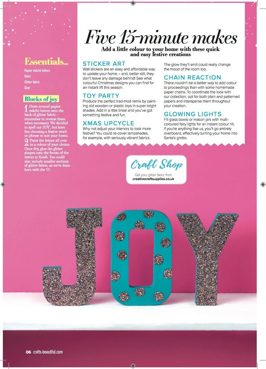 JOY glitter fabric lettering feature Crafts beautiful Magazine