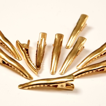 Pack of 10 - 35mm Alligator Clips - Gold