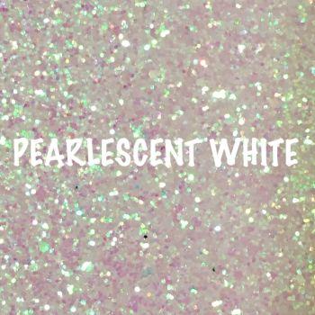 Glitz Chunky Glitter Fabric - Pearlescent White