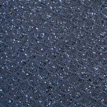 Mermaid Lace Glitter Fabric Sheet - Midnight Blue