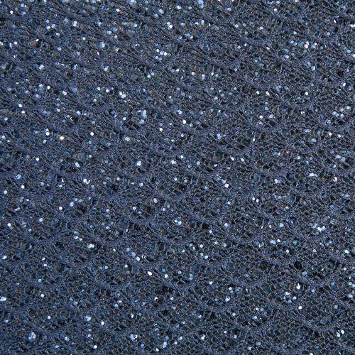 Mermaid Lace Glitter Fabric Sheet - Midnight Blue