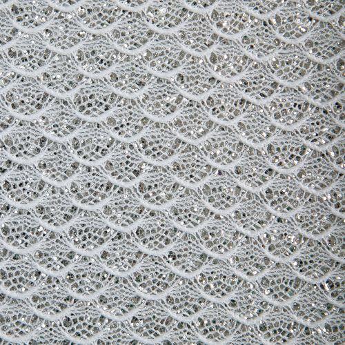 Mermaid Lace Glitter Fabric Sheet - White
