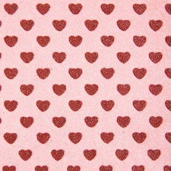 Sparkly Hearts Glitter Fabric A4 Sheet - Candy Pink/Red
