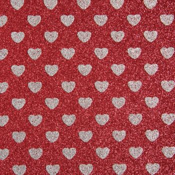 Sparkly Hearts Glitter Fabric A4 Sheet - Red/Silver
