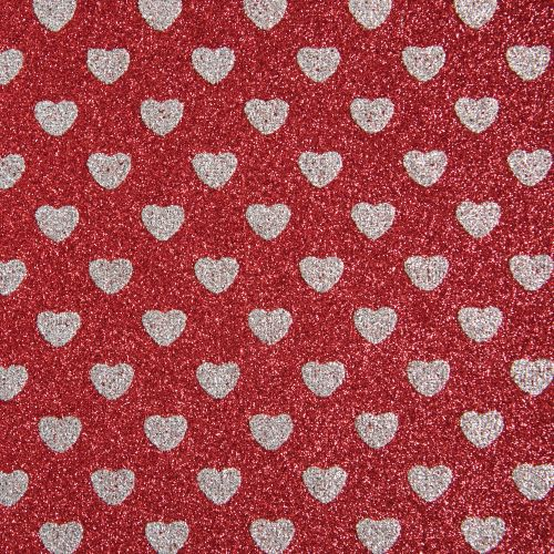 Sparkly Hearts Glitter Fabric Sheet - Red/Silver