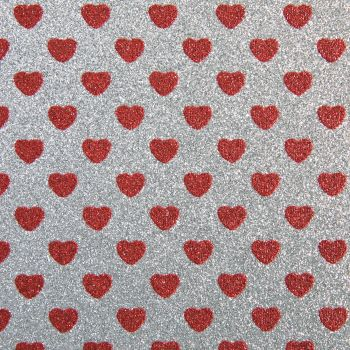 Sparkly Hearts Glitter Fabric A4 Sheet - Silver/Red