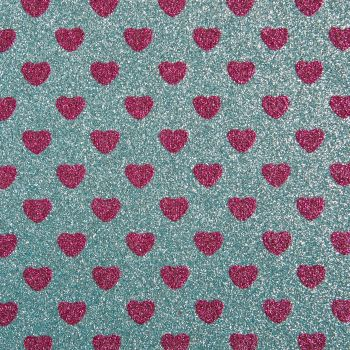 Sparkly Hearts Glitter Fabric A4 Sheet - Sky Blue/Fuchsia