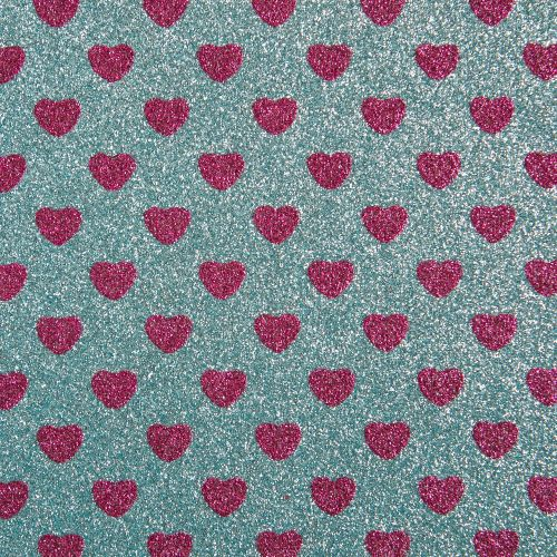 Sparkly Hearts Glitter Fabric Sheet - Sky Blue/Fuchsia