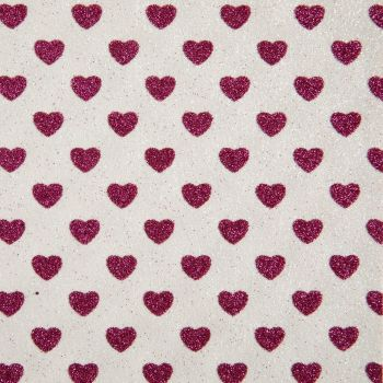 Sparkly Hearts Glitter Fabric A4 Sheet - White/Fuchsia