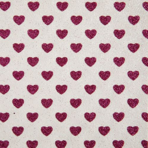 Sparkly Hearts Glitter Fabric Sheet - White/Fuchsia