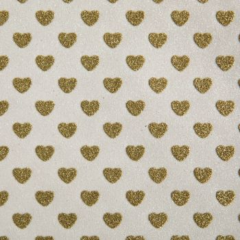 Sparkly Hearts Glitter Fabric A4 Sheet - White/Gold