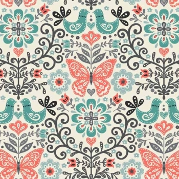 Fabric - Makower - Papillon - Butterfly (Coral)