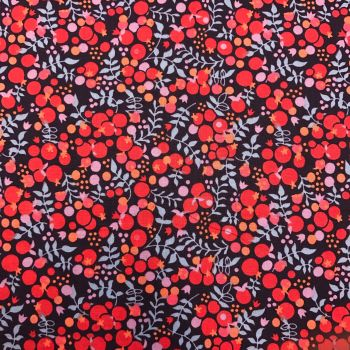 Double Sided Glitter Fabric - Red Berries