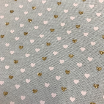 Double Sided Fabric Felt - Glitter Hearts - Mint
