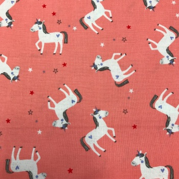 Double Sided Fabric Felt - Unicorn on Coral