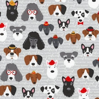 Double Sided Fabric Felt - Dogs - Vintage Grey