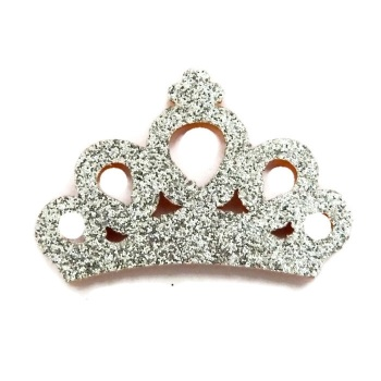 Mini Glitter Crown - Silver