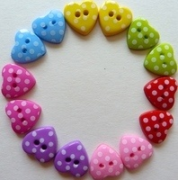 15mm Polka Dot Heart Buttons