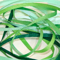 6mm Plain Grosgrain Ribbon - Greens
