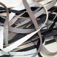 6mm Plain Grosgrain Ribbon - Greys