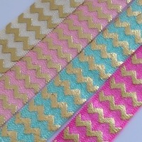 Fold Over Elastic - Metallic Chevron