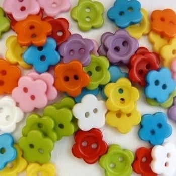 Pack of 50 - 11mm Flower Buttons - Mixed