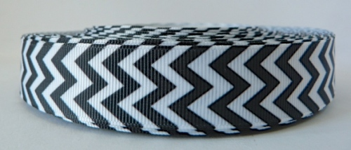 22mm Chevron Grosgrain Ribbon - Black