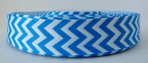 22mm Chevron Grosgrain Ribbon - Blue