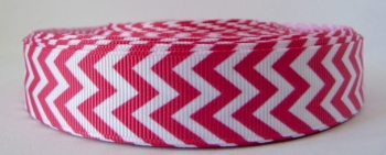 22mm Chevron Grosgrain Ribbon - Fuchsia