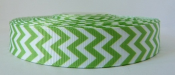 22mm Chevron Grosgrain Ribbon - Lime