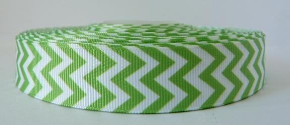 22mm Chevron Grosgrain Ribbon - Green