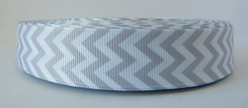 22mm Chevron Grosgrain Ribbon - Grey