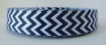 22mm Chevron Grosgrain Ribbon - Navy