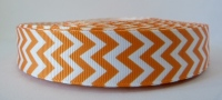 22mm Chevron Grosgrain Ribbon - Orange