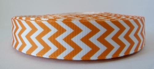 22mm Chevron Grosgrain Ribbon - Orange