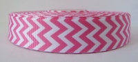 22mm Chevron Grosgrain Ribbon - Pink