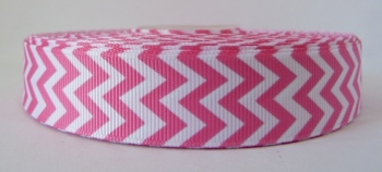 22mm Chevron Grosgrain Ribbon - Pink
